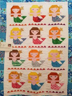 Super cute mermaid Quilt Children's Quilts, Barn Quilts, Beach Themed Quilts, Quilting Projects, Sewing Projects, Coastal Quilts, Mermaid Quilt, Beach Quilt, Applique Quilt Patterns