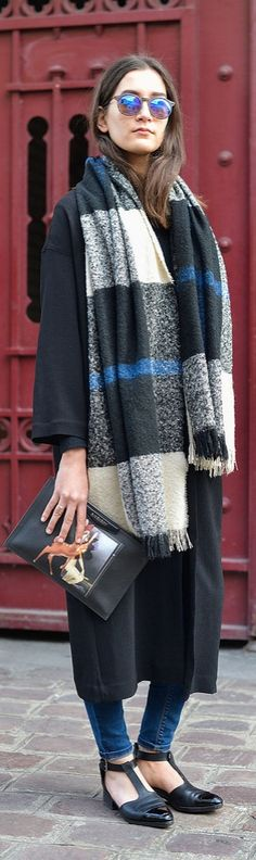 Paris Fashion Week street style: plaid scarf and Givency clutch