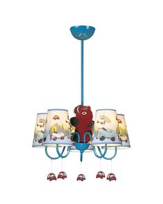Bright up your kids' room and also the imagination with this adorable chandelier. It features 5 lights under tapered shades with cartoon cars patterns which are stretched out from the center. There are also little car pendants under the curved arms. With its creative design and delicate handcraft, it will be a great choice for your kids' room lighting and decoration. When you light it on, it will glow soft light and create pleasant and harmonious atmosphere in the room.