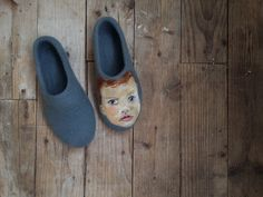 Handmade Wool felted slippers - Custom people painting  - New baby gift - Wool Painting - Eco fashion house shoes  by ShimaFiberArt on Etsy https://www.etsy.com/listing/221323755/handmade-wool-felted-slippers-custom