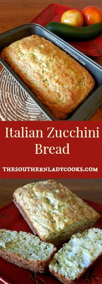 This recipe for Italian Zucchini Bread is easy, you will love it and it's a great way to use up zucchini overload from the garden. It is so good toasted with butter and a great bread with any… Zucchini Chips, Savory Zucchini Bread, Zucchini Muffin Recipes, Zucchini Bread Recipes, Zucchini Muffins, Zucchini Noodles, Savoury Baking, Bread Baking, Herb Bread