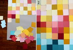 http://abeautifulmess.com/2011/11/modern-wall-art-with-paint-swatches.html