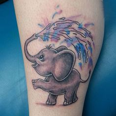 Baby Elephant Playing In Water Tattoo - Watercolor Elephant Tattoo - The Best Elephant Tattoo Designs - Cute Elephant Tattoo Designs and Ideas - Sexy Thigh Tattoo, Small Elephant Tattoo, Elephant Outline, Elephant Tattoo Meanings Mom Tattoos, Trendy Tattoos, Cute Tattoos, Body Art Tattoos, Small Tattoos, Tatoos, Elephant Tattoo Meaning, Cute Elephant Tattoo, Elephant Tattoo Design