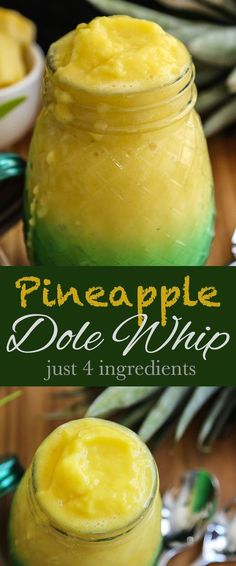 Homemade Pineapple Dole WhipThis easy Homemade Pineapple Dole Whip recipes uses just 4 ingredients in the Vitamix - the frozen fresh taste is amazing!