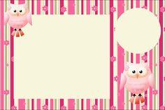 Coruja Rosa e Bege – Kit Completo com molduras para convites, rótulos para guloseimas, lembrancinhas e imagens! |Fazendo a Nossa Festa