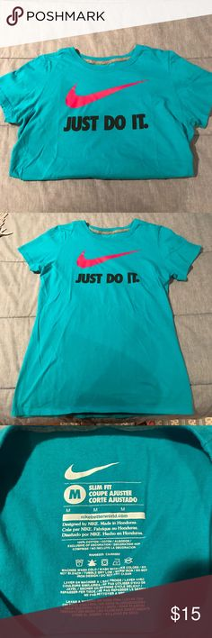 """Nike t-shirt Classic """"just do it"""" logo, aqua blue, never worn, like new, missing tags, no stains or rips, perfect for working out, slim fit! Nike Tops Tees - Short Sleeve"""
