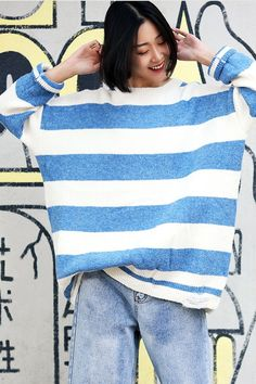 31fb2c681c Women Black And Blue Loose Striped Sweater Casual Tops. Fantasylinen