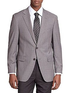 Saks Fifth Avenue Collection Samuelsohn Micro-Plaid Wool Sportcoat - L