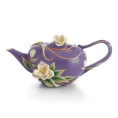 Franz Porcelain Tea Pot- Franz Collection Southern Charm Magnolia Sculptured Porcelain Teapot