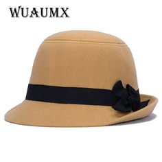 [Wuaumx] Brands Winter Fedora hats for female ladies felt top hat for girls homburg Women's hat Bowler caps chapeu masculino #wuaumx #Fedoras #women_clothing #stylish_Fedoras #style #fashion