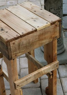 Rustic Pallet Wood Tall Stool