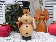 Vintage Weihnachtsdeko - vintage Räuchermännchen Schneemann Erzgebirge - ein Designerstück von artdecoundso bei DaWanda