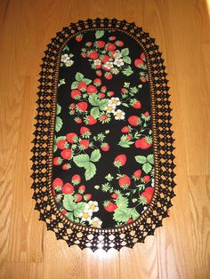 Aunt Roo's Timeless Treasures Strawberry fabric table by auntroo, $26.00