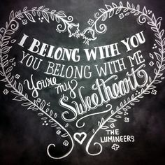 Lumineers Ho Hey quote chalkboard print by Lily & Val @Meg