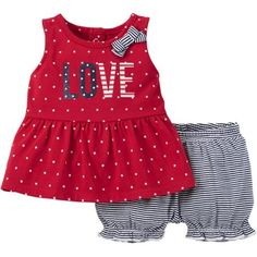 Child of Mine by Carter's Newborn Baby Girl T-Shirt and Shorts Americana Outfit Set, 2 Pieces