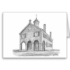 """Shop Paul McGehee """"The Fairfax Courthouse"""" Card created by MCGEHEEWORLD. Virginia Bluebells, Fairfax County, Beautiful Notes, Northern Virginia, Note Cards, Taj Mahal, Envelope, Battle, Buildings"""
