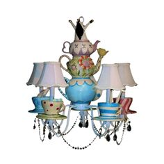 Alice In Wonderland Chandelier - Bring an element of fantasy to your home with this fun Alice in Wonderland Chandelier!  The chandelier is hand painted and features five tea cup and saucer set lamps, each representing a different character in the story: the Mad Hatter, Alice, the Cheshire Cat, the Caterpillar, and the White Rabbit.  The center of the chandelier features teapots depicting the singing flowers and is topped off with the Queen of Hearts' crown.  The whole thing is dripping in…