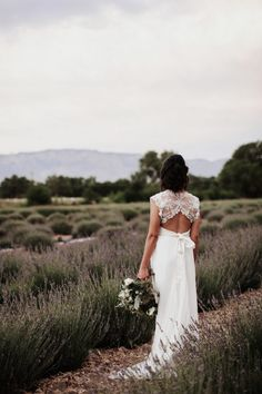 Anna Campbell Real Bride in the Carolina Hand-Beaded Exposed Back Wedding Dress as featured on Junebug Weddings | This Albuquerque Wedding Took Cues From the Natural Beauty of Historic Los Poblanos