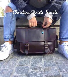 Leather Laptop Bag, Leather Briefcase, Leather Bag, Leather Handbags, Dark Brown Color, Deep Brown, Beautiful Sandals, Gold Eyes, 3 D