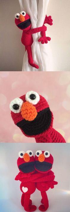 friendly monster curtain tie back crochet pattern. Nursery decor