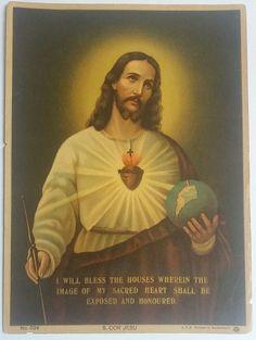 Antique Frames, Vintage Frames, Litho Print, Immaculate Conception, Heart Of Jesus, Catholic Art, Spiritual Warfare, Sacred Heart, Print Pictures