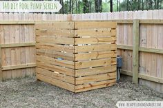 This would be perfect for covering an AC unit.  She used it to hide a pool pump.  DIY Outdoor Wood Screen for under $40