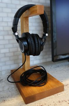 Custom Headphone Stand The Classic Handmade by CPCustomWoodworking
