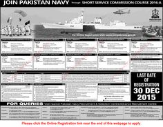 Join Pakistan Navy through Short Service Commission 2016 - A Entry Online Registration Latest - Jobs in Pakistan