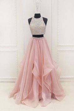 Pink chiffon tiered two pieces sequins A-line beaded long evening dresses Evening Dress Two Piece, Evening Dress Long, A-Line Evening Dress, Pink Evening Dress, Evening Dress Chiffon Evening Dresses Lavender Prom Dresses, Prom Dresses Long Pink, Junior Prom Dresses, Prom Dresses For Teens, Elegant Prom Dresses, Sweet 16 Dresses, Homecoming Dresses, Pink Dress, Graduation Dresses