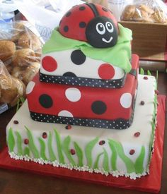 If you do decide to have a cake, we suggest this ladybug baby shower cake.  It is just adorable and it goes perfect with your ladybug baby shower theme. http://modernbabyshowers.blogspot.com
