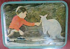 Vtg.Sweet Tin Box Child feeding Kangaroo Loving litho Print scene India !970  #Multipurposesweettinbox