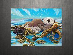 California Sea Otter Original painting by FollowtheSunArt on Etsy, $400.00