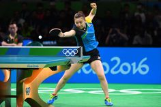 Ai Fukuhara of Japan competes against Xiaoxia Li of China during the women's…