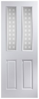 Exceptionnel 4 Panel White Pre Painted Internal Glazed Door, NAT26APOFD+GEP