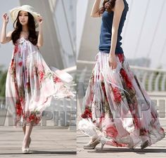 Sexy CONVERTIBLE DRESS Floral chiffon maxi skirt Lxk5v