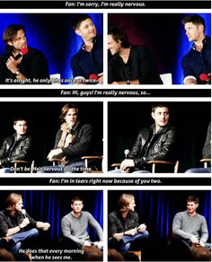 [SET OF GIFS] Jensen and Jared convention panel #VanCon2013 #SFCon2011