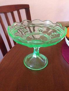 Green depression glass uranium glass. Crown Crystal
