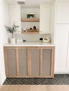 Find out how we created these custom cane cabinet doors to hide our washer and dryer and create a pretty hall laundry room! #laundry #fixerupper #modernfarmhouse #gatherhouse #laundrydecor #laundryremodel  Hidden Laundry Rooms, Laundry In Kitchen, Laundry Nook, White Laundry Rooms, Laundry Decor, Laundry Room Cabinets, Farmhouse Laundry Room, Laundry Closet, Laundry Room Design