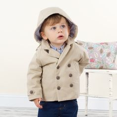 Cotton Coat with Hood for baby boy by  Dave Bella Kids Clothes www.davebella.co.uk
