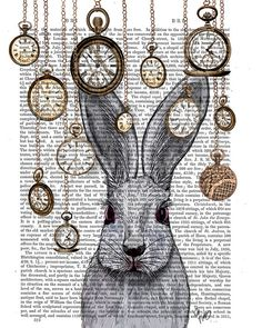 Rabbit Time White Rabbit Alice in Wonderland Print by FabFunky, $15.00