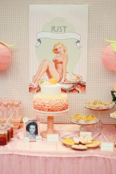 "Peaches and Pin-Ups Birthday Party...love the gingham + ""peach"" paper lanterns"