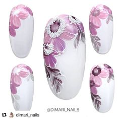 How to succeed in your manicure? - My Nails Flower Nail Designs, Nail Designs Spring, Cool Nail Designs, Remove Acrylic Nails, Acrylic Nail Art, Floral Nail Art, Manicure E Pedicure, Nail Decorations, Fabulous Nails