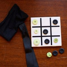 Kids craft? Tic Tac Toe Tile with Upcycled Buttons by AnnaNimmity on Etsy, $12.00