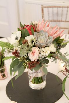 'King Proteas' for Debbie & Liam King's November Wedding Day at Ashfield House November Wedding, Wedding Day, King, Table Decorations, Weddings, Flowers, Beautiful, Ideas, Home Decor