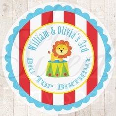 Circus Birthday Stickers  Circus Party Favor by sosweetpartyshop, $6.00