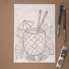 ideas for painting diy pineapple Summer Drawings, Art Drawings Sketches Simple, Pencil Art Drawings, Doodle Drawings, Easy Drawings, Doodle Art, Pencil Drawing Tutorials, Arte Sketchbook, Painting & Drawing