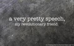 """A very pretty speech, my revolutionary friend."" - Someone from the Resistance?"