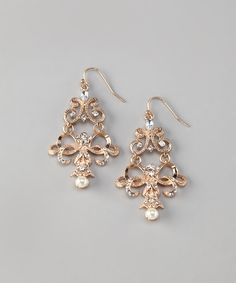 Vintage Gold & Pearl Lacy Filigree Chandelier Earrings | on zulily!  GORGEOUS!!!!