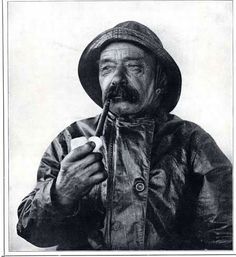 Cape Cod Fisherman in Oilskins smoking a pipe