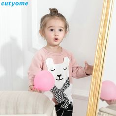 Topten tips for Original Price US $12.62 Sale Price US $10.73 Baby Children Girls Warm Clothing Pink Bear With Scarf Desigan Sweater For Kids Boy Girl Knits Pullover Cardigan Outerwear 1 5y ing #sweaters-cardigans